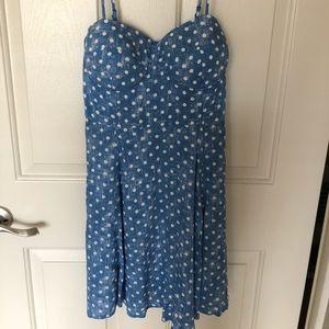 Material Girl - blue polka dot dress